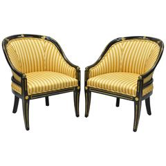 Pair of Black Ebonized and Gold Neoclassical Barrel Back Slipper Accent Chairs