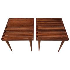 Beautiful Pair of Slat Side Tables, USA, 1950s