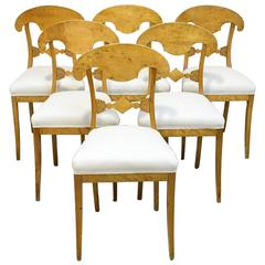 Set of Six Swedish Biedermeier Chairs with Upholstered Seats, circa 1820