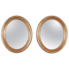 Closely Matched Pair of Louis Philippe Oval Mirrors