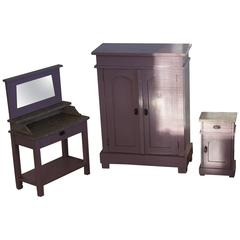 1920 Art Deco Miniature Bedroom Furniture Wardrobe Bedside Cabinet & Wash Stand