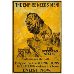 Original Antique World War One Poster: The Empire Needs Men! Young and Old Lions