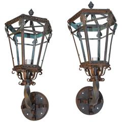 Beautiful and Rare Large 1920s Bronze and Wrought Iron Outdoor Sconces