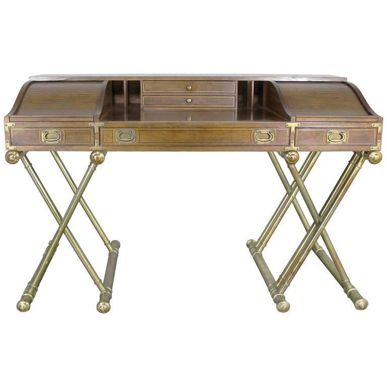 vintage drexel campaign desk with gilt x base legs and low roll top      rh   1stdibs com