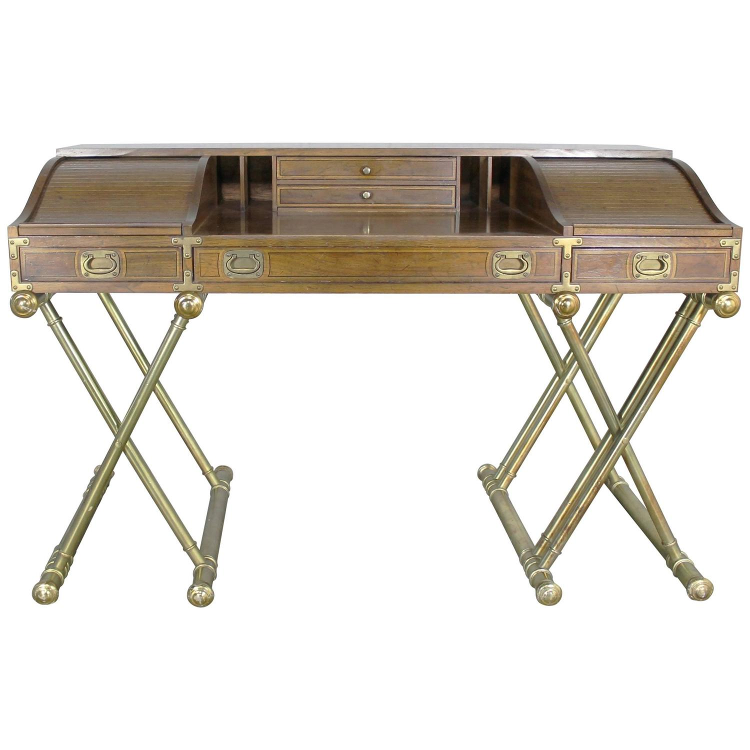 Vintage Drexel Campaign Desk With Gilt X Base Legs And Low Roll Top For At 1stdibs