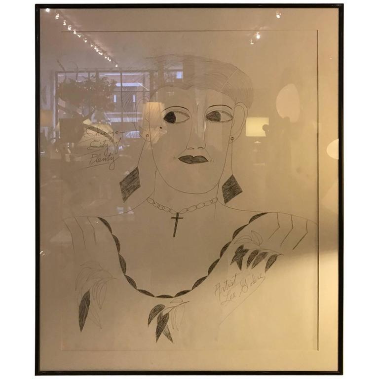 Lee Godie Outsider Art Ink Portrait  For Sale