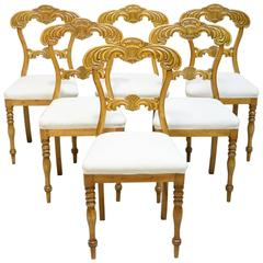 19th Century Set of Six Karl Johan Dining Chairs in Birch with Upholstered Seats
