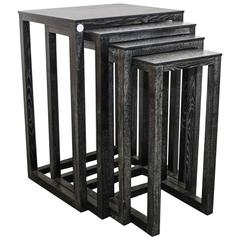 Set of Four Ebonized Cerused Wood Nesting Tables