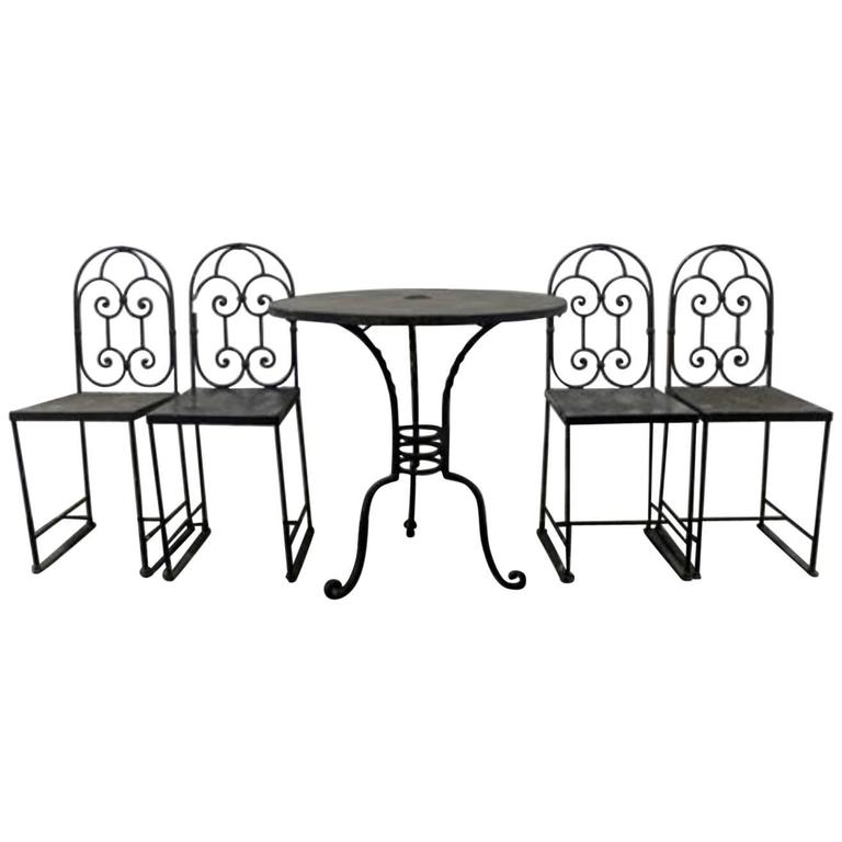 19th century french wrought iron cafe 39 table and chairs for Wrought iron cafe chairs