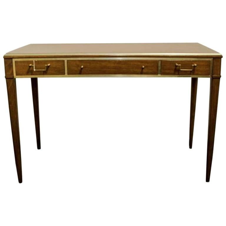 Very Chic Mid-Century Mahogany and Brass Inlayed Writing Table 1