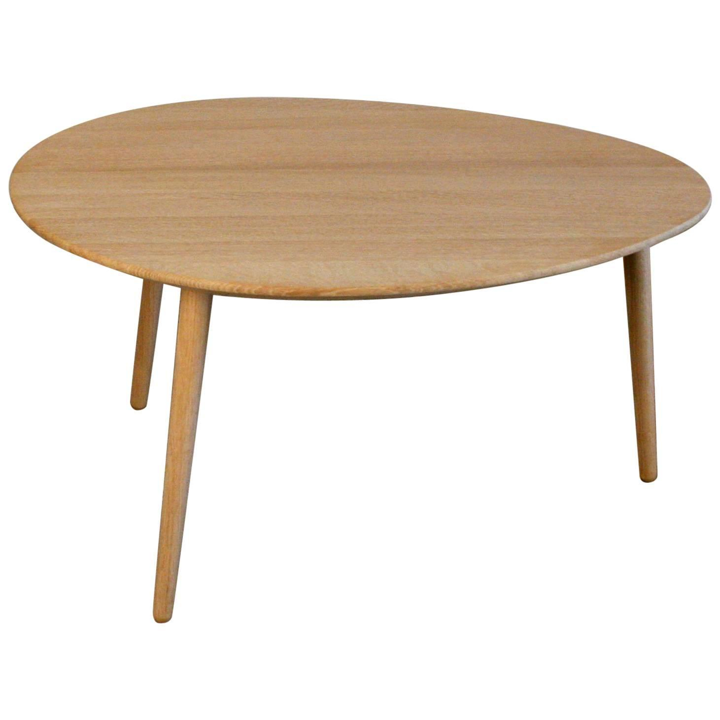 Danish Soaped Oak Egg Shaped Coffee Table at 1stdibs