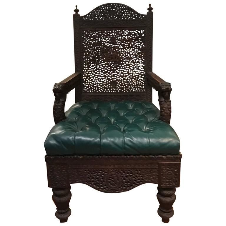 19th Century Carved Anglo-Indian Arnchair