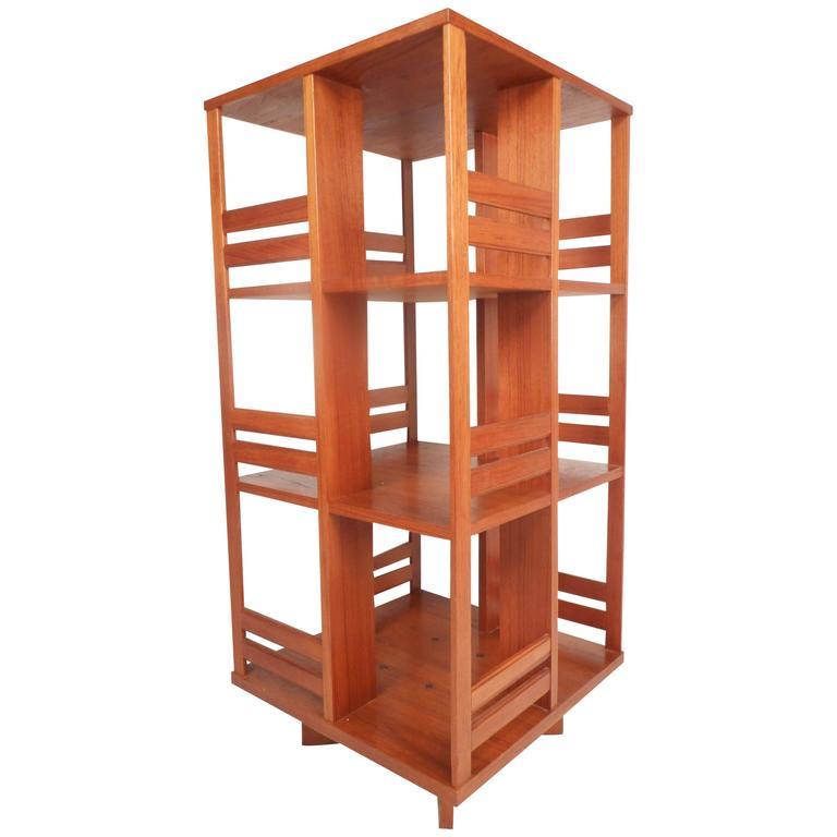 Mid-Century Modern Danish Teak Revolving Bookshelf