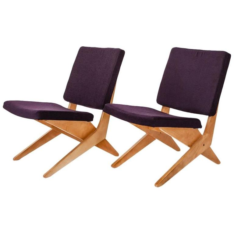 """Pair of FB 18 """"Scissor"""" Lounge Chairs from the Dutch Maker Pastoe"""