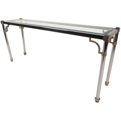 Vintage Chrome and Brass Console Table in the Style of Maison Jansen