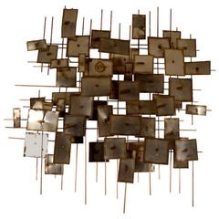 Large Brutalist Wall Hanging Sculpture Dated 1973