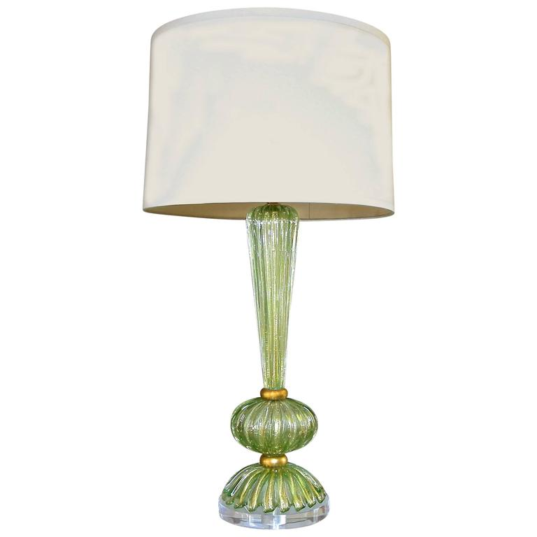 Single Green and Gold Italian Murano Glass Table Lamp