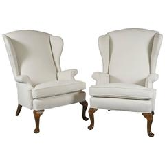 Pair of Early 20th Century Queen Anne Style Wingchairs