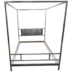 Cubic Chrome Queen Milo Baughman Four-Poster Canopy Bed, Mid-Century