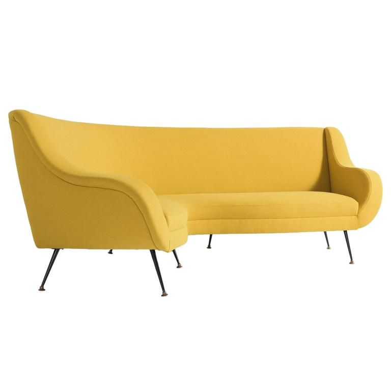 Modern Curved Sofa, circa 1960 For Sale