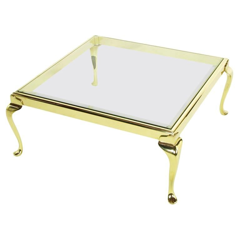 Square Solid Brass Cabriole Leg Coffee Table For Sale