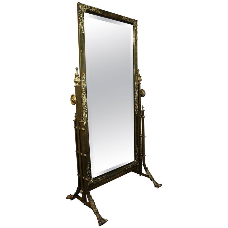 French brass cheval mirror with gilt bronze mounts for for Floor mirrors for sale