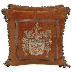Pair of Painted Velvet Pillows with Shields