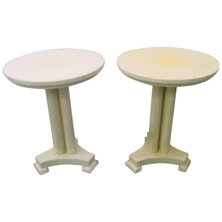 Gorgeous Pair of Enrique Garcel Bone Neoclassical Side End Tables Mid-Century