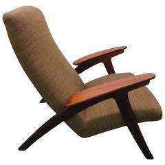 Fantastic Danish Modern Paddle Arm Teak Lounge Chair Mid-Century