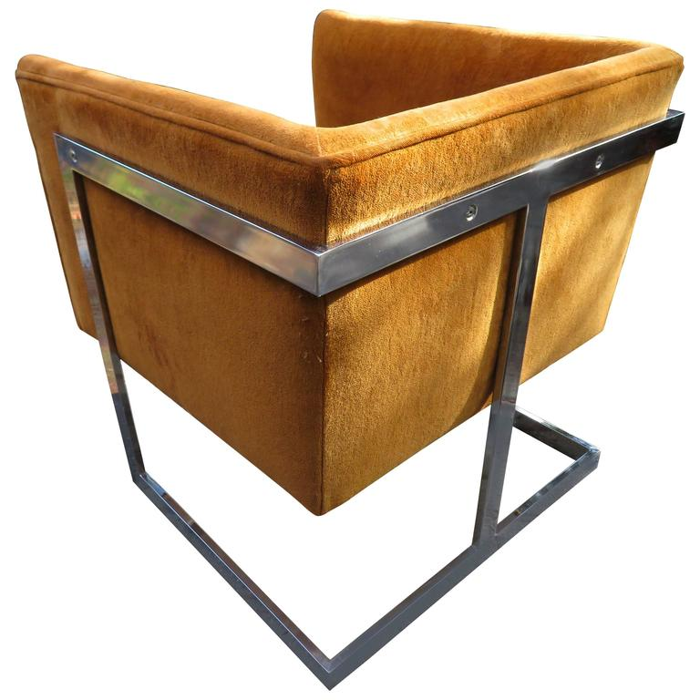 Petite Milo Baughman Chrome Cube Lounge Chair, Mid-Century Modern For Sale