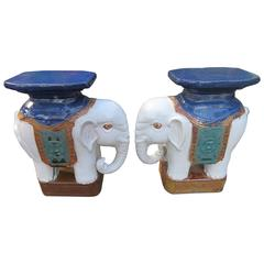 Whimsical Pair of Glazed Terracotta Elephant Stool Tables Mid-Century