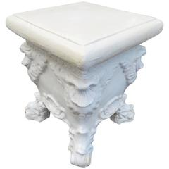 Lovely White Glazed Terra-Cotta Roccoco Style Plant Side Table