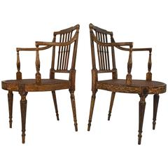 19th Century Painted English Regency Cane Seat Armchairs