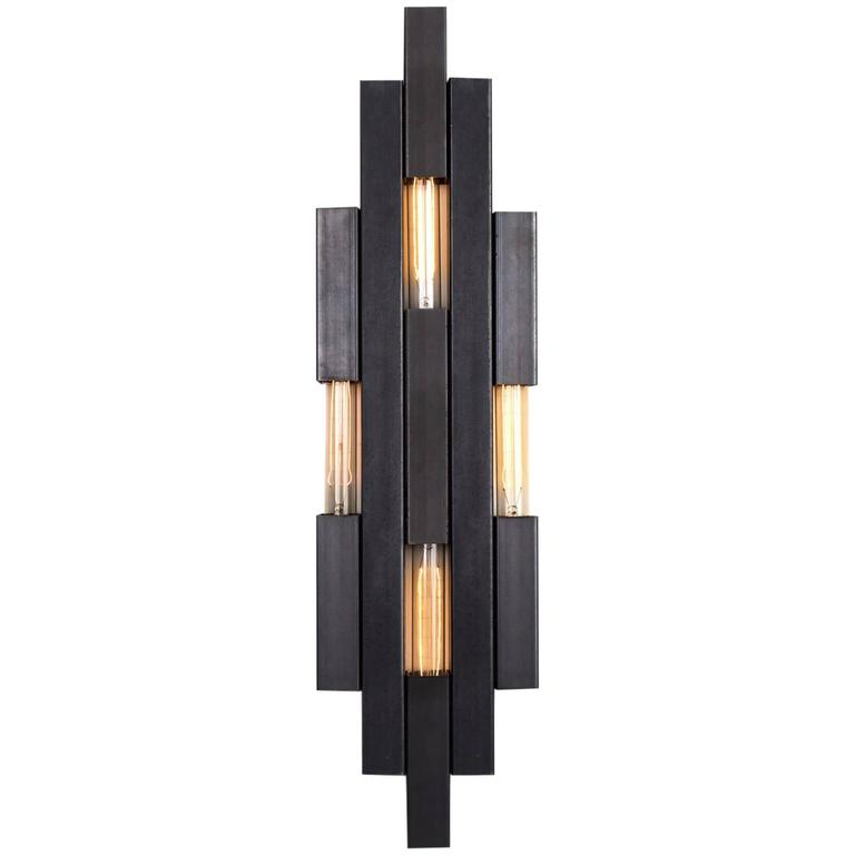 Nouveau Wall Light Sconce in Raw Steel or Powdercoat with Modern Influence For Sale
