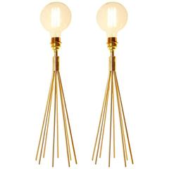 Pair of European Modern Brass Table Lamps