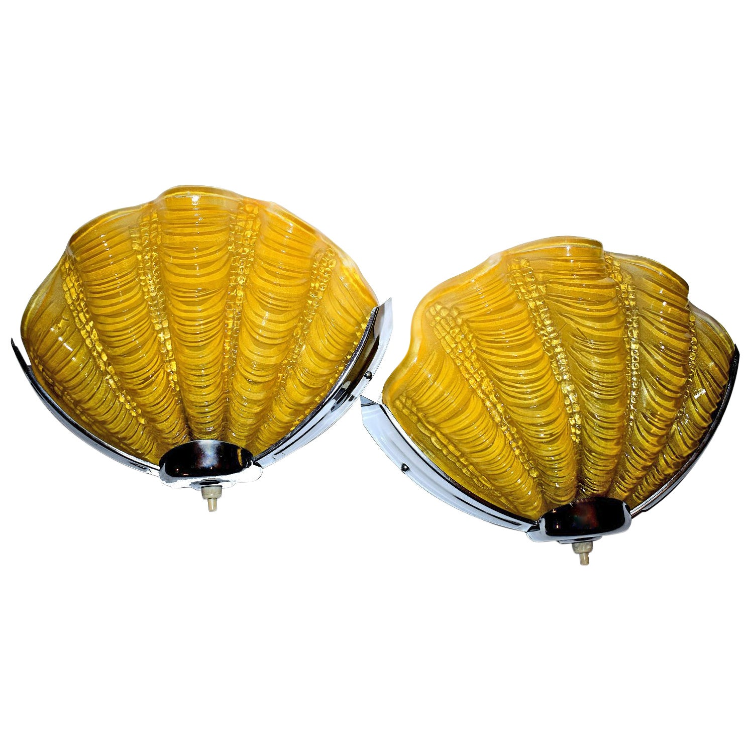 1930S Art Deco Daffodil Yellow Shell Wall Lights Or Sconces