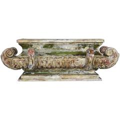 Carved Wood Italian Painted and Parcel-Gilt Planter