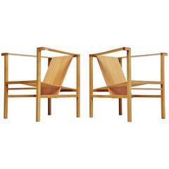 Ruud Jan Kokke High Slat Chairs Pair Metaform, 1984