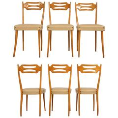 Italian Dining Chairs in Polished Maple Wood, Set of Six