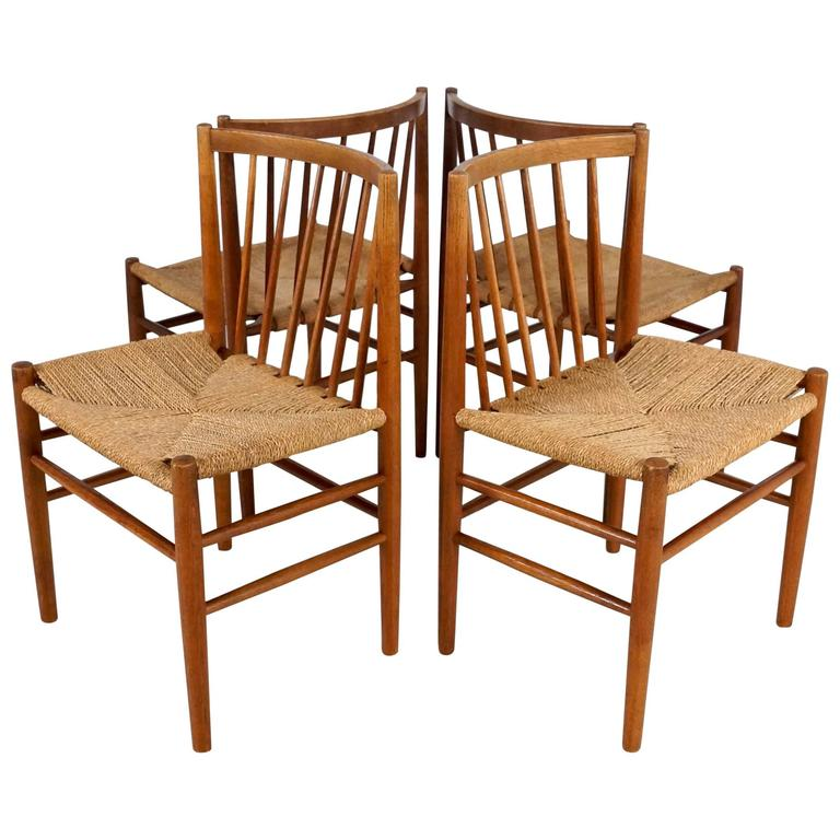 Scandinavian Dining Chairs by Jørgen Bækmark in Oak and Paper Cord, Set of Four