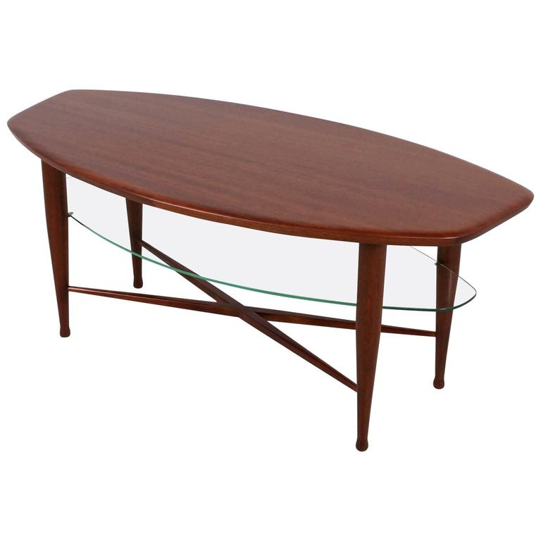 Teak Coffee Table with Glass Magazine Shelve Underneath For Sale