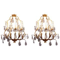 Important Pair of Sconces in a 'Cage' Design in Gold Plate with Crystals