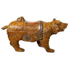 19th Century Carved Wooden Bear, German Fair Ground Galloper