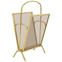 Faux Bamboo Brass Magazine Rack Maison Bagues, France, 1940s