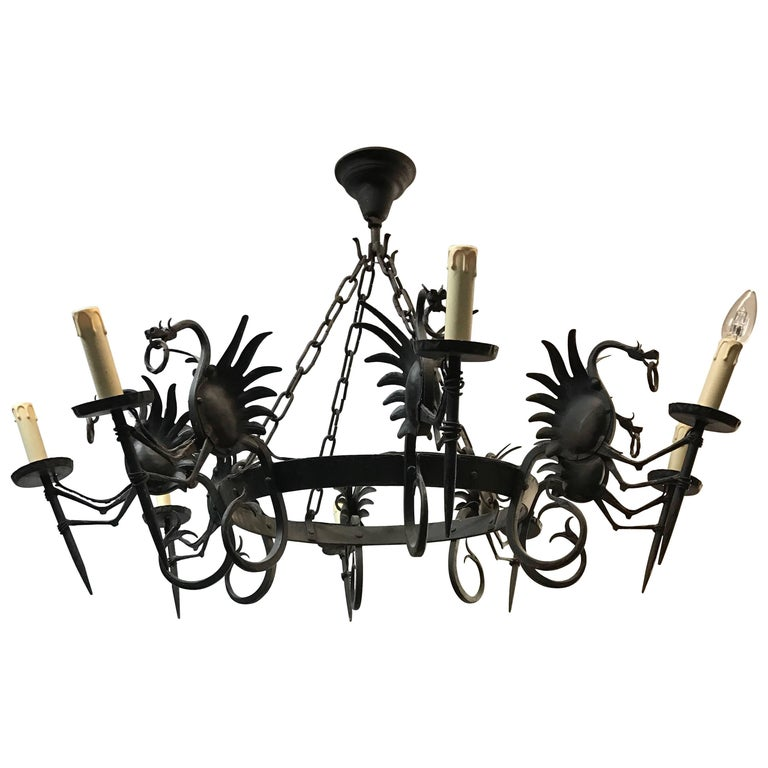 Impressive Large Forged Wrought Iron Eight-Light Chandelier w Dragon Sculptures For Sale