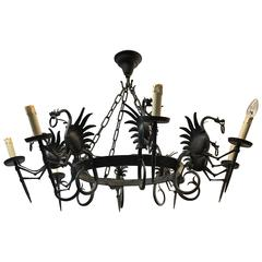 Large Forged Wrought Iron Eight-Light Chandelier or Ceiling Lamp with Dragons