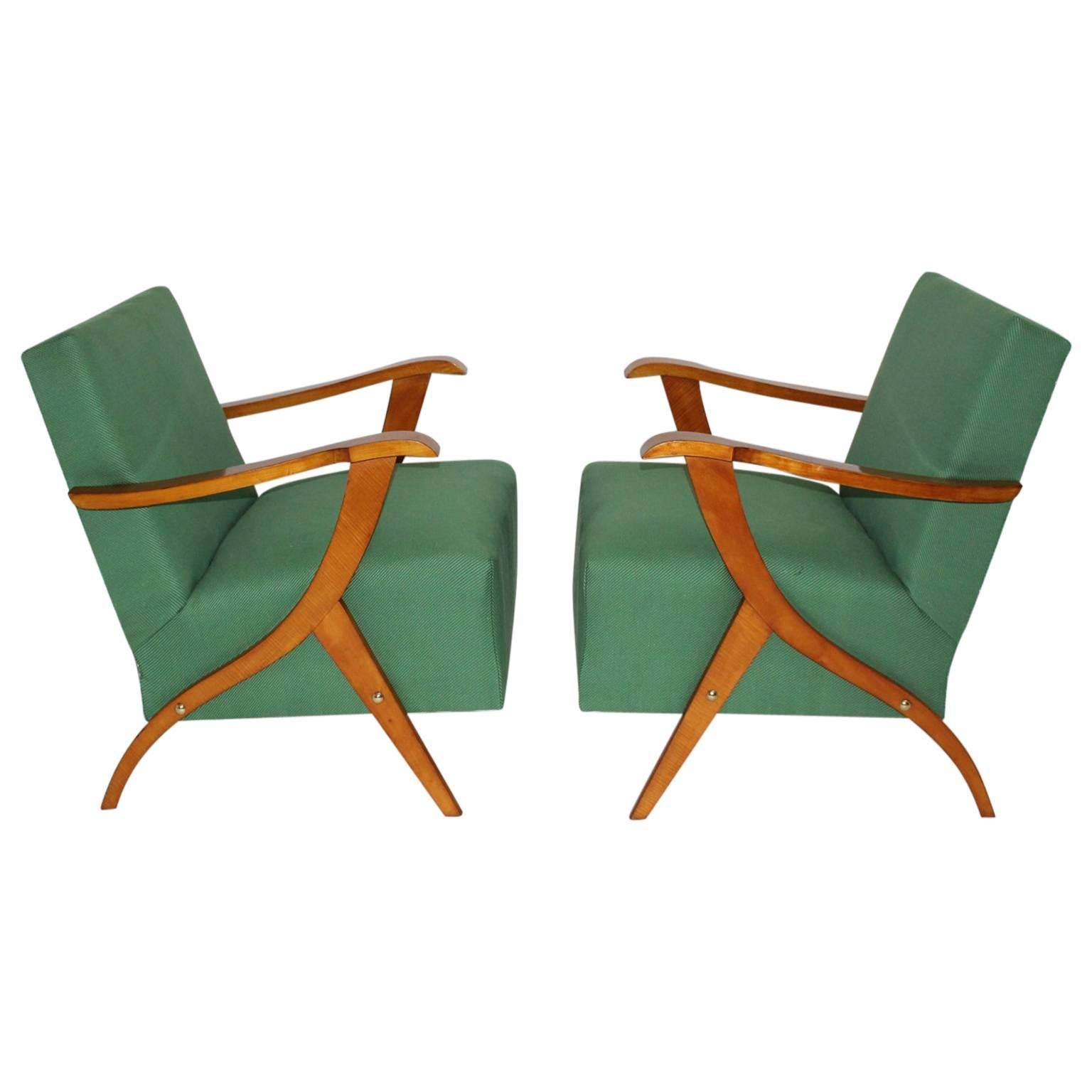 Mid Century Modern Vintage Green Fabric and Wood Lounge Chairs, 1950s Italy
