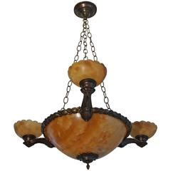 Stunning Antique four Light Alabaster Bronze and Brass Pendant / Chandelier