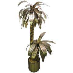 Giant Curtis Jere Sculptural Brass Palm Tree Torch Cut, Mid-Century Modern