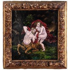 "Late 18th Century, Limoges Enamel Plate ""Deianeira and the Centaur Nessus"""